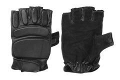Les gants noirs pour former sur un fond blanc ont isolé des gants de forme physique images stock