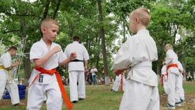 Les garçons dans le kimono participent combat simple, karaté dehors, des arts martiaux s'exerçant au parc, sports pour des enfant banque de vidéos