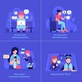 Les gens à l'aide des dispositifs pour surfer de Web illustration stock