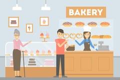 Les gens à la boulangerie illustration de vecteur