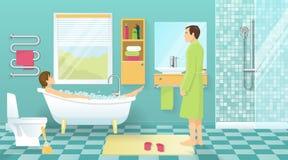 Les gens à la conception de salle de bains illustration libre de droits