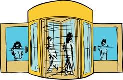 Les gens à la porte giratoire Images libres de droits