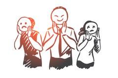 Les gens, émotions, masque, visage, concept d'humeur Vecteur d'isolement tiré par la main illustration libre de droits