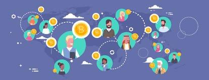 Les gens achetant Bitcoins au-dessus concept de devise de Digital de carte du monde de crypto de réseau moderne d'argent Photo libre de droits