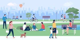Les gens appréciant au parc ensemble illustration de vecteur