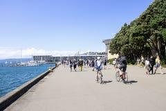 Les gens appréciant le temps ensoleillé en été le long de Wellington Waterfront Images stock