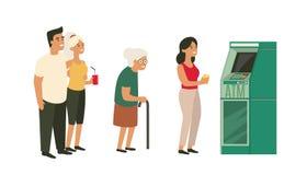 Les gens attendant dans la ligne près du distributeur automatique de billets illustration stock