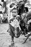 Les gens au Bénin, en noir et blanc Photographie stock