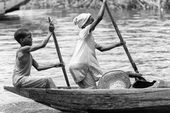 Les gens au Bénin, en noir et blanc Images libres de droits