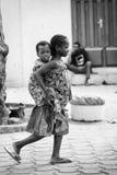 Les gens au Bénin, en noir et blanc Image stock