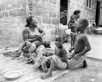 Les gens au Bénin (noir et blanc) Images stock