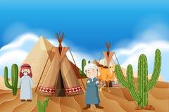 Les gens au camp de désert illustration de vecteur