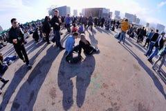Les gens au festival 2013, étape de bruit de Heineken Primavera de fourche Image libre de droits