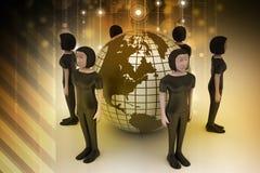 Les gens autour d'un globe représentant la mise en réseau sociale Photo stock