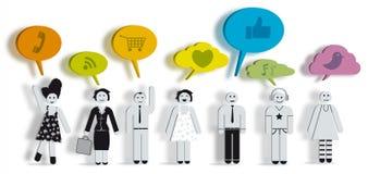 Les gens avec des bulles des textes de colorfull Image libre de droits