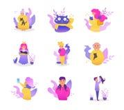 Les gens avec des chats Vecteur d'ensemble de collection cartoon Art d'isolement sur le fond blanc illustration stock