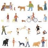 Les gens avec des chiens réglés illustration de vecteur