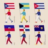 Les gens avec des drapeaux : Le Cuba, République Dominicaine, Haïti, Bahamas illustration libre de droits