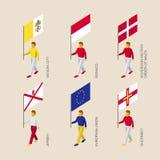 Les gens avec des drapeaux - Vatican, Monaco, Malte, débardeur, Guernesey, UE illustration libre de droits