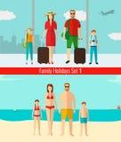 Les gens avec des enfants voyageant des vacances Vacances d'été Vecteur Photos stock