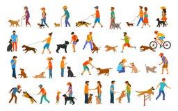Les gens avec la collection de graphique de chiens équipez la femme formant leurs commandes de base d'obéissance d'animaux famili illustration de vecteur