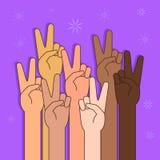 Les gens avec la paix ou la Victory Sign Illustration Images stock