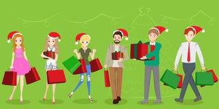 Les gens avec Noël Image libre de droits