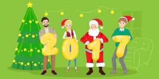 Les gens avec Santa Images stock