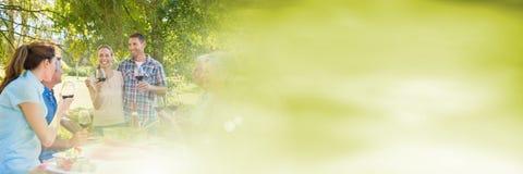 Les gens ayant la partie de célébration d'amusement avec la transition de vert de brume d'été Photographie stock libre de droits