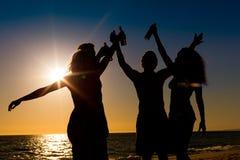Les gens ayant la réception à la plage avec des boissons Image stock