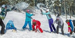 Les gens ayant le combat de boule de neige Photographie stock