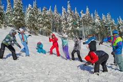 Les gens ayant le combat de boule de neige Photos stock
