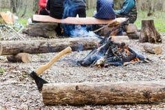 Les gens ayant un pique-nique dans un incendie de forêt Images libres de droits