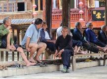 Les gens ayant un repos dans le zhaoxin, Guizhou, porcelaine photo libre de droits