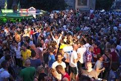 Les gens célèbrent le jour de rue de Christopher Image libre de droits