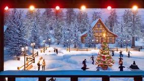 Les gens célèbrent Noël près de l'arbre extérieur de Noël illustration stock