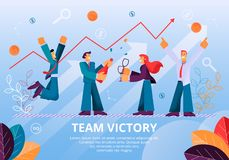 Les gens célèbrent Team Victory Successful Project illustration de vecteur
