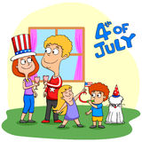 Les gens célébrant le 4ème juillet Image libre de droits