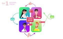 Les gens causant des médias sociaux en ligne ensemble illustration de vecteur