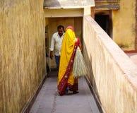 Les gens chez Amer Fort à Jaipur, Inde Image stock
