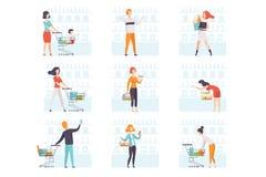 Les gens choisissant des produits, poussant des chariots ? l'ensemble d'?picerie, des achats d'homme et de femme au supermarch? d illustration libre de droits