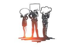 Les gens, communication, entretien, discussion, concept de message Vecteur d'isolement tiré par la main illustration libre de droits