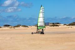 Les gens conduisant le sable faisant de la navigation de plaisance sur la plage image libre de droits
