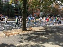 Les gens courant chez Berlin Marathon au-dessus des tonnes de tasses en plastique vides images stock
