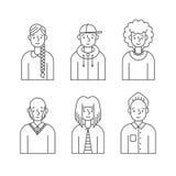 Les gens décrivent le vecteur gris d'icônes réglé (des hommes et des femmes) Conception de Minimalistic Partie deux Photographie stock libre de droits