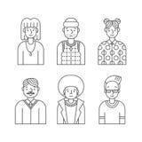 Les gens décrivent le vecteur gris d'icônes réglé (des hommes et des femmes) Conception de Minimalistic Partie quatre Photo stock
