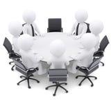 les gens 3d à la table ronde. Une chaise est vide Image libre de droits