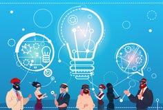 Les gens d'affaires de groupe d'usage de Digital de réalité de causerie en verre bouillonnent concept de démarrage de discussion  Illustration Libre de Droits