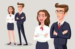Les gens d'affaires de groupe de position d'équipe ont plié le sourire de main, l'homme d'affaires et le costume gris d'usage de  illustration de vecteur