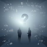 Les gens d'affaires de silhouette de groupe considèrent le procédé de séance de réflexion illustration libre de droits
